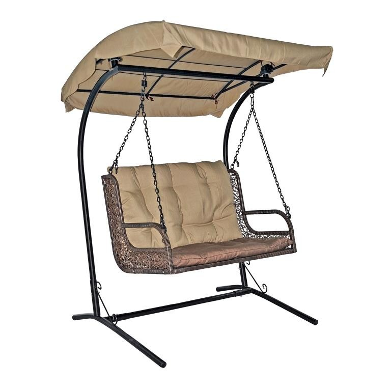 Подвесное кресло для двоих из ротанга ЭкоДизайн Twin