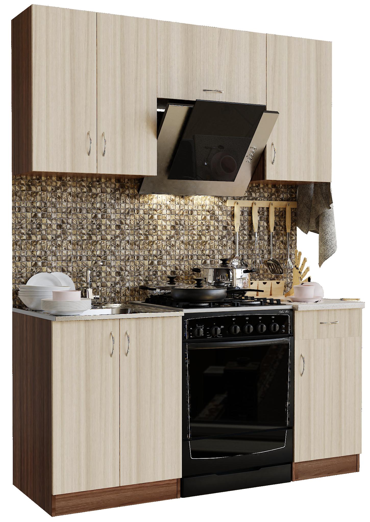 Кухонный гарнитур Sanvut ГК1600 - 2.1.2 Ясень шимо темный / Ясень шимо светлый