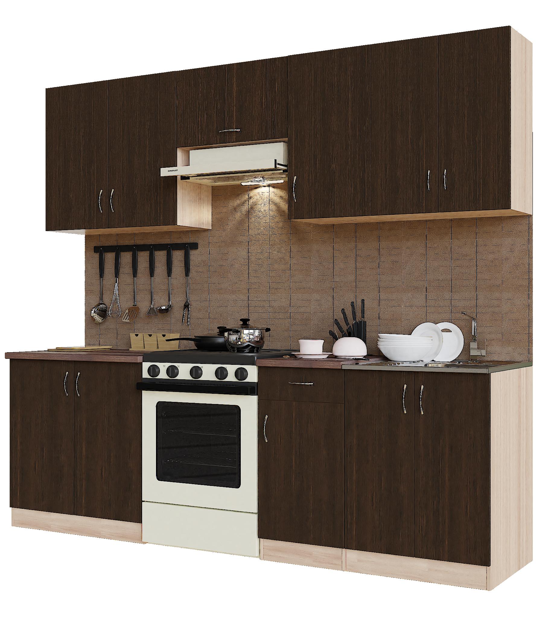 Кухонный гарнитур Sanvut ГК2400 - 1.3.1 Ясень шимо светлый / Венге