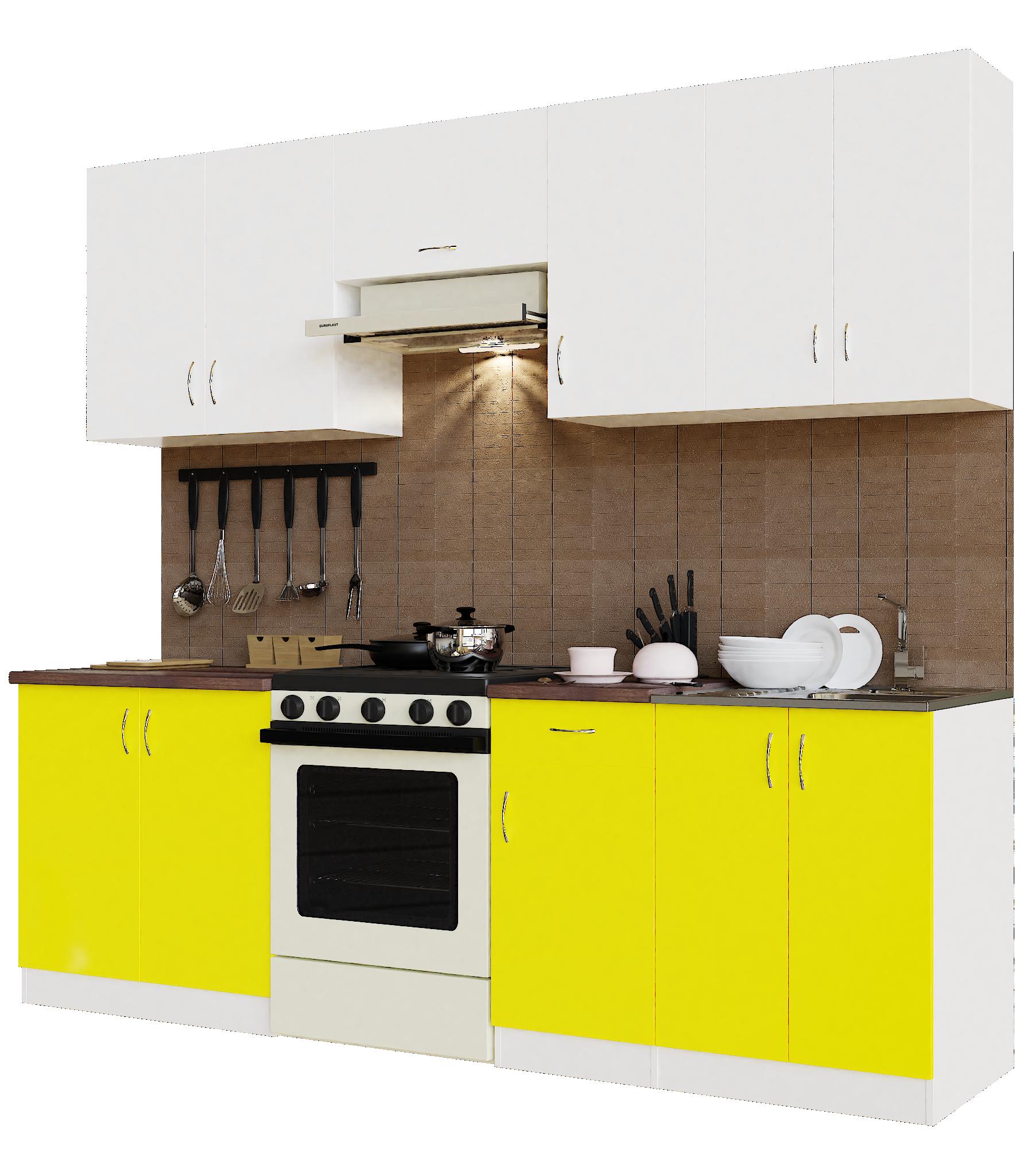Кухонный гарнитур Sanvut ГК2400 - 5.5_10.1 Белый / Желтый / Венге