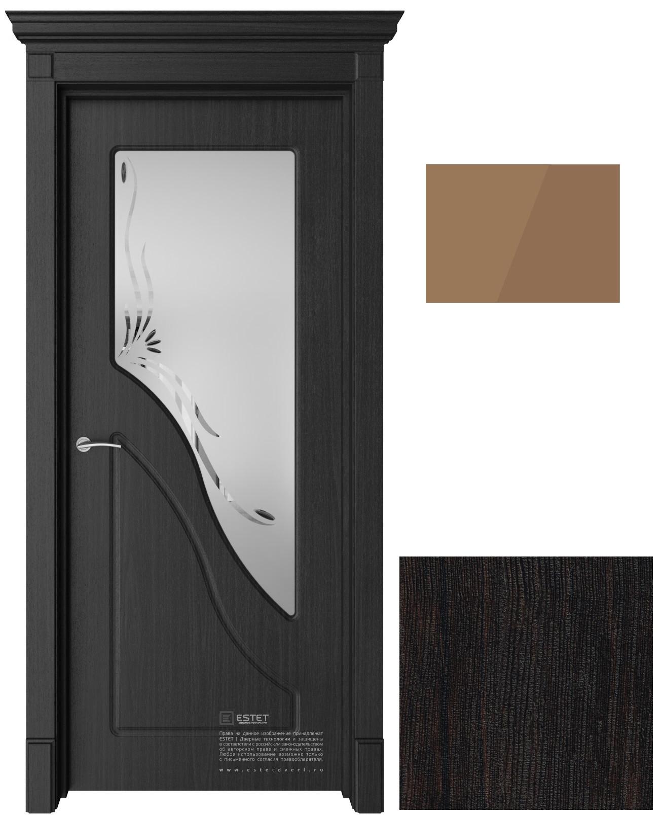 Межкомнатная дверь ПВХ Эстет Жасмин ДО Тиковое дерево стекло бронза 600x2000 ПОСЛЕДНИЙ РАЗМЕР ПО АКЦИИ