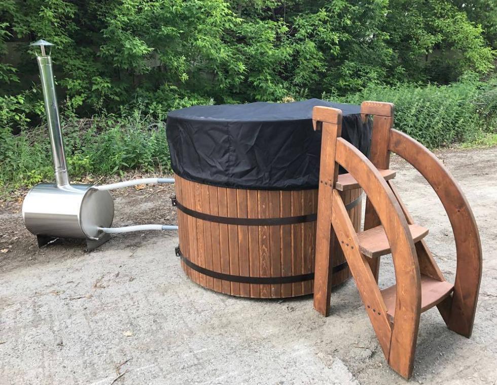 Бочка Фурако FitoNext из кедра с внешней дровяной печью круглая 2000мм