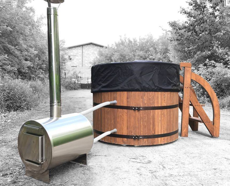 Бочка Фурако FitoNext из кедра с внешней дровяной печью овальная 1600мм