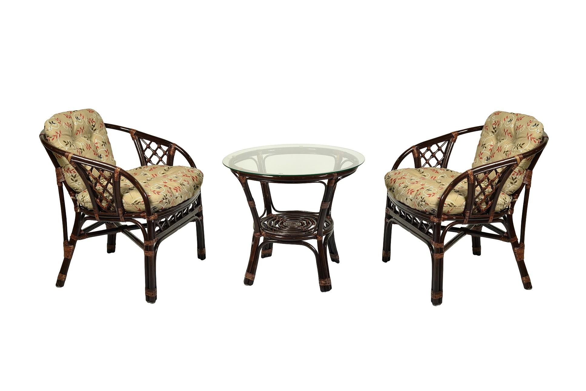 Кофейный комплект из ротанга GIKU Аркадиа DB (стол журнальный и 2 кресла)