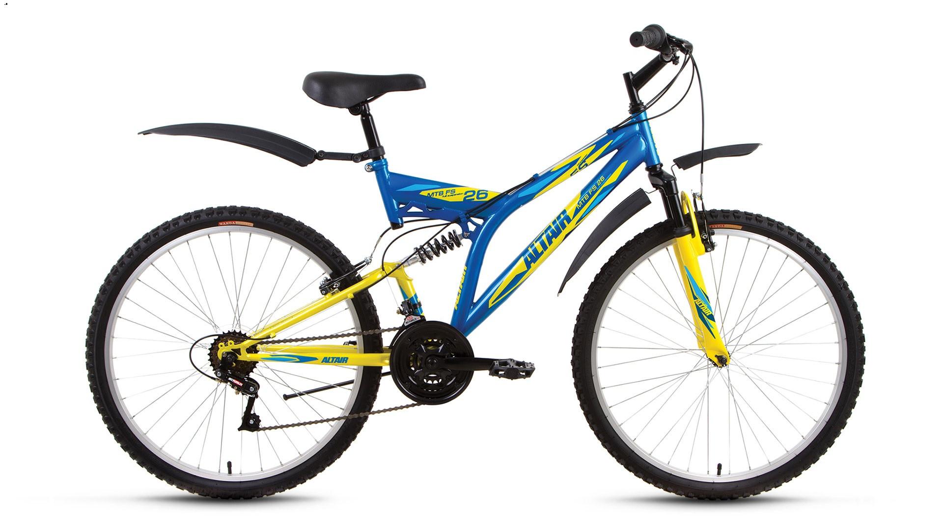 """Двухподвесный велосипед Altair MTB FS 2017 рама 16"""" синий/желтый"""