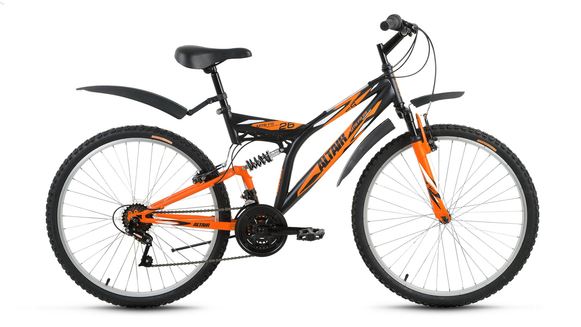 """Двухподвесный велосипед Altair MTB FS 2017 рама 16"""" черный/оранжевый"""