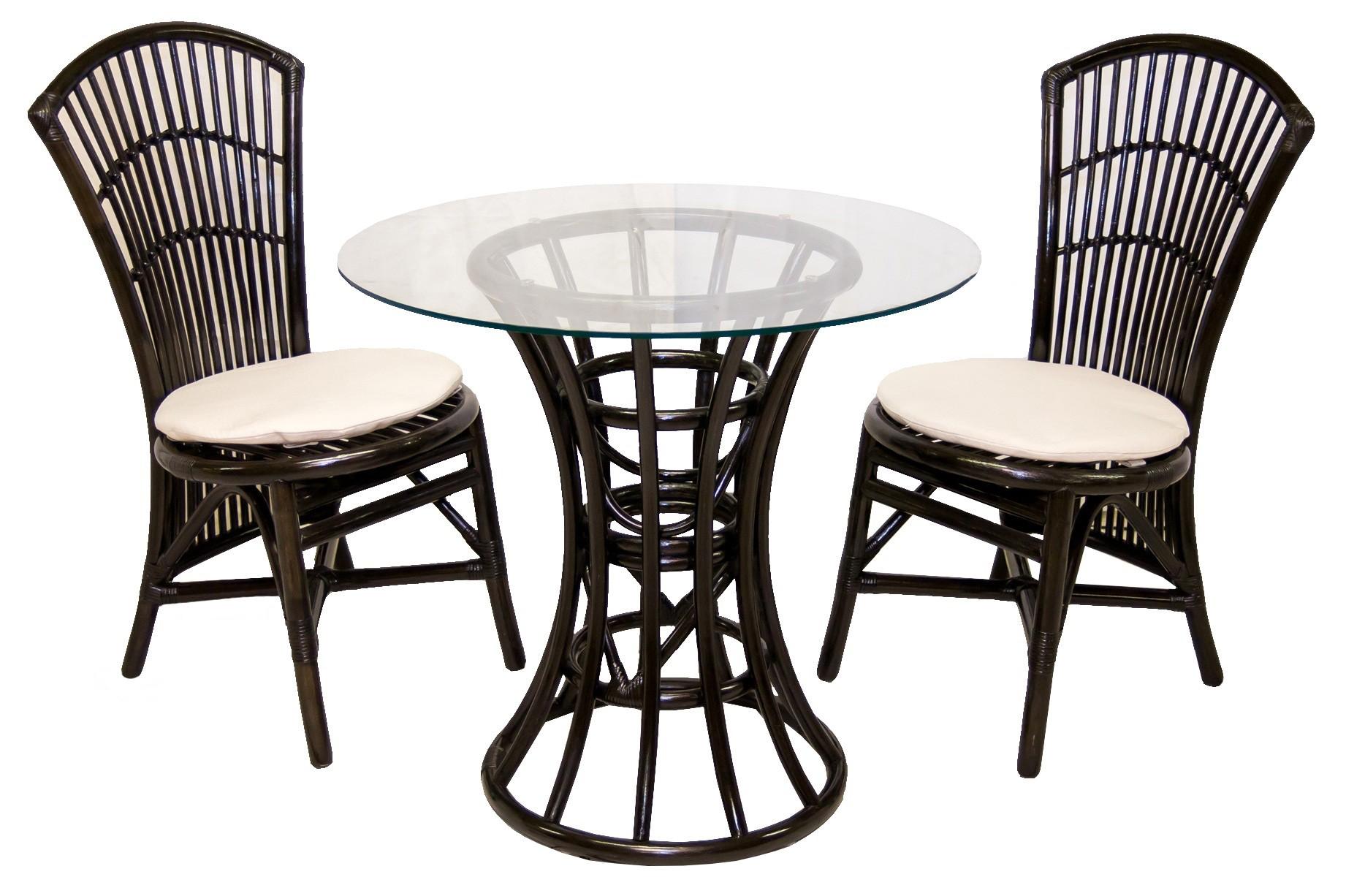 Кофейный комплект из ротанга GIKU Бистро black (стол и два стула)