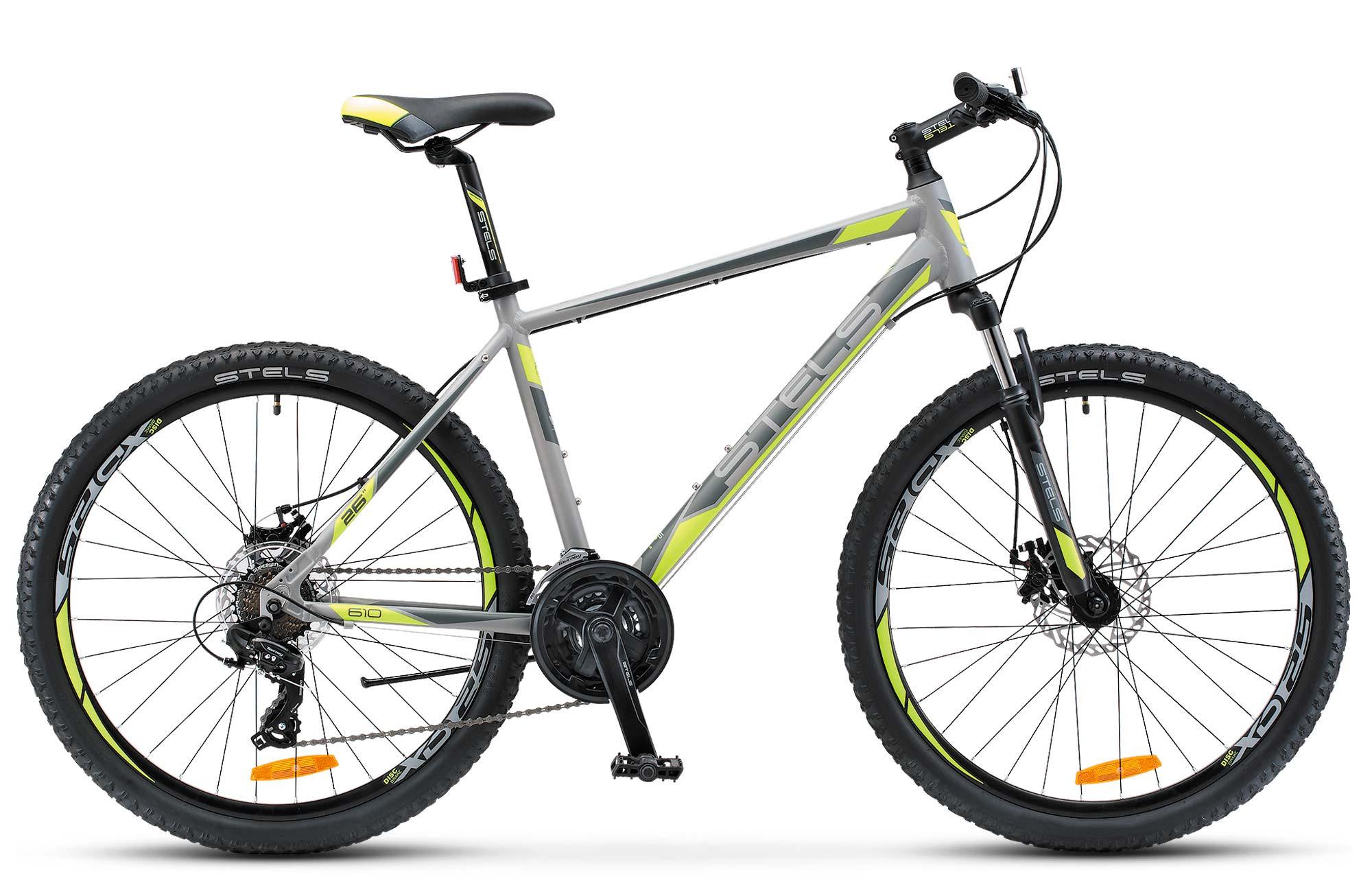 "Горный велосипед Stels Navigator-610MD 2017 V030 рама 16"" черный/салатовый"