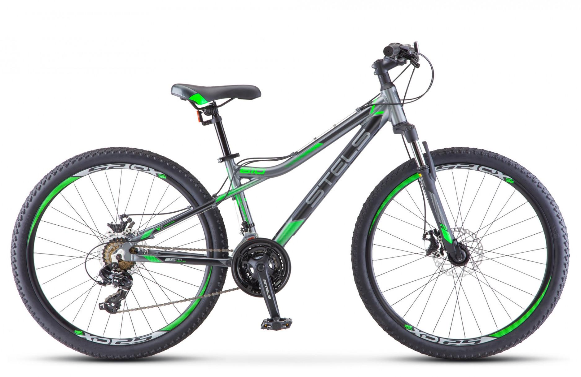 "Горный велосипед Stels Navigator-610MD 2018 V040 рама 14"" серый/зеленый"