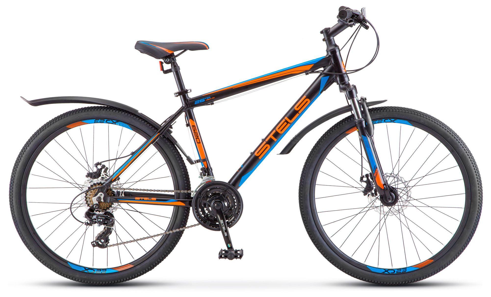 """Горный велосипед Stels Navigator-620MD 2018 V010 рама 17"""" черный/синий/оранжевый"""