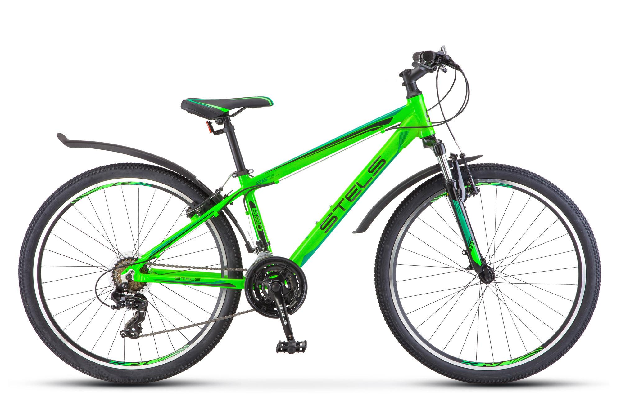 """Горный велосипед Stels Navigator-620V 2018 V010 рама 17"""" неоновый зеленый/черный"""