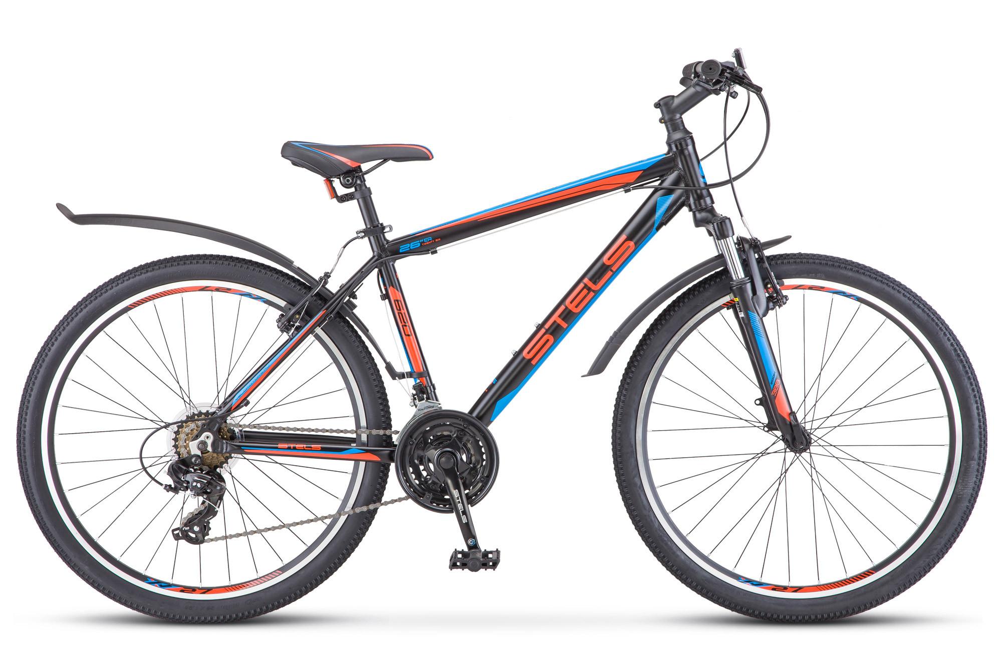 """Горный велосипед Stels Navigator-620V 2018 V010 рама 19"""" черный/красный/синий"""