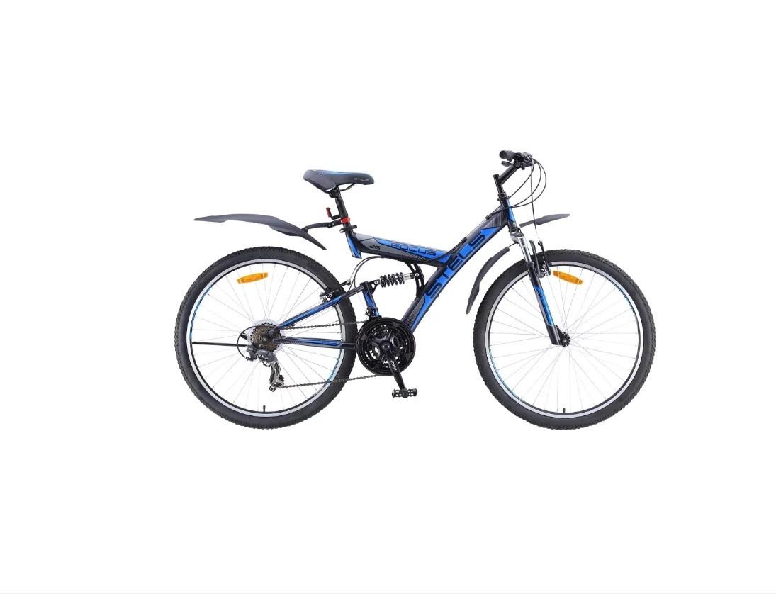 """Двухподвесный велосипед Stels Focus V 21-sp 2017 V030 рама 18"""" черный/синий"""