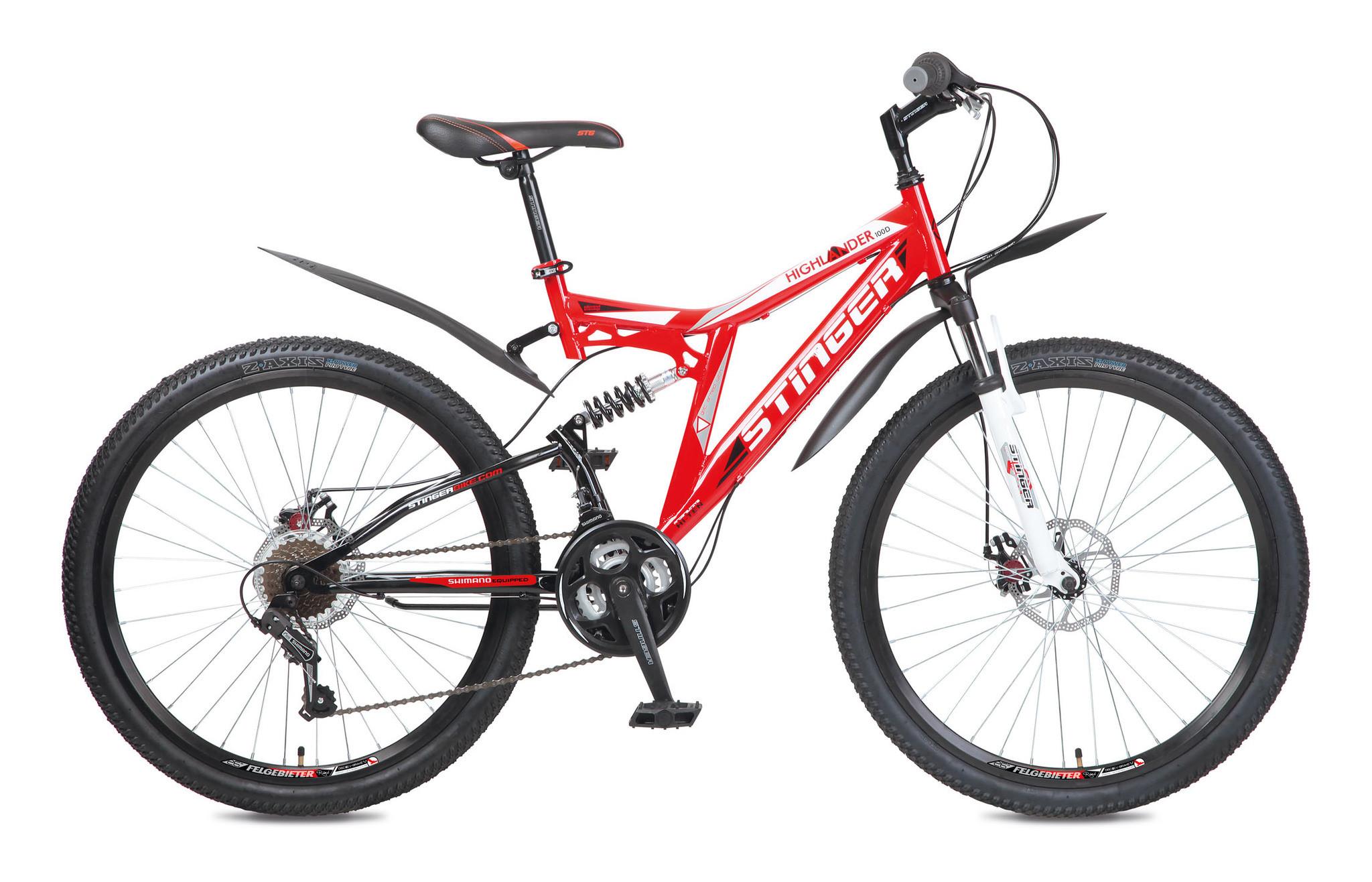 """Двухподвесный велосипед Stinger Highlander 100D 2017 рама 16"""" красный"""