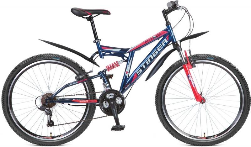 """Двухподвесный велосипед Stinger Highlander 150V 2016 рама 16"""" синий/красный"""