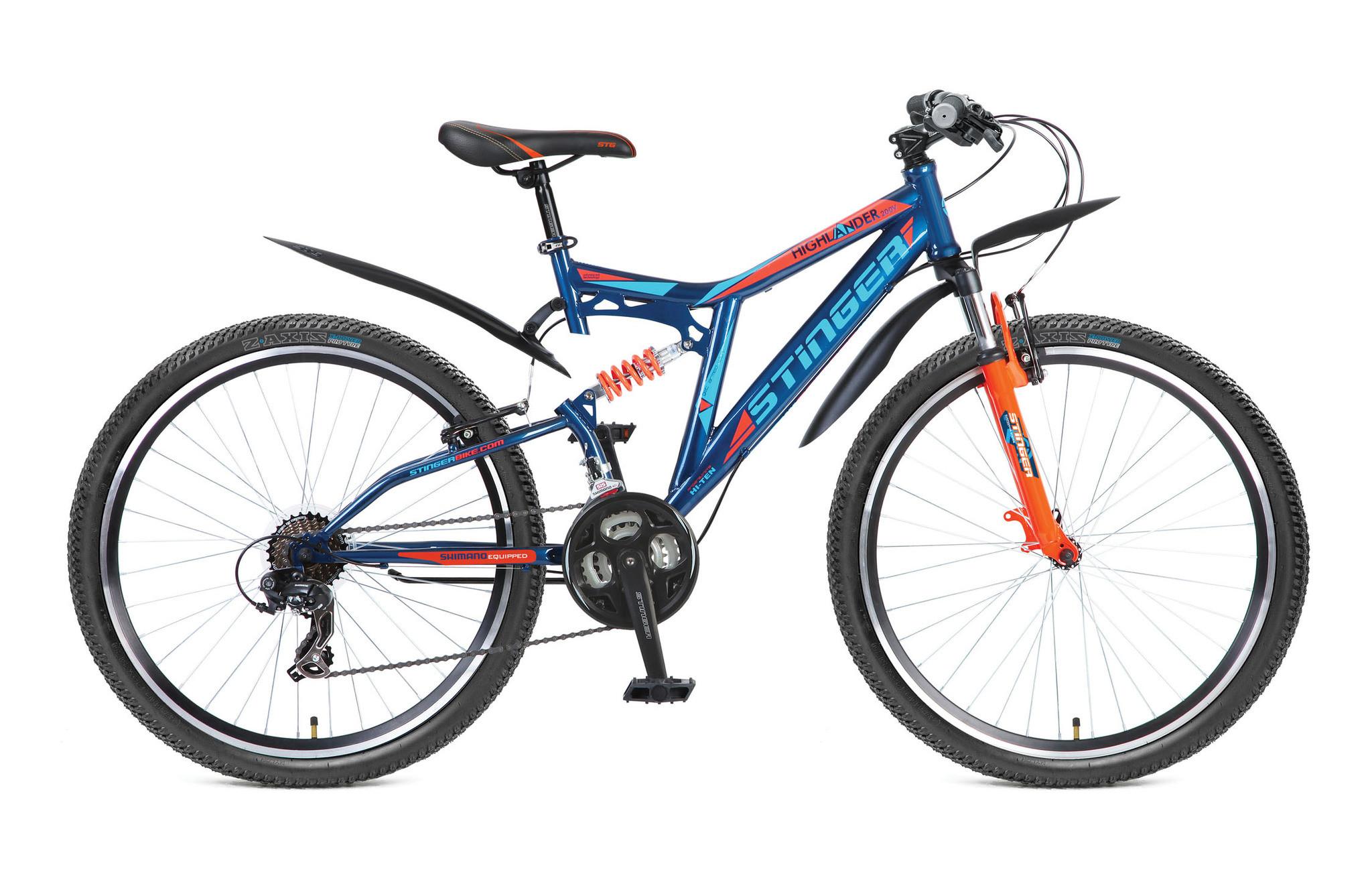 """Двухподвесный велосипед Stinger Highlander 200V 2017 рама 16"""" синий"""