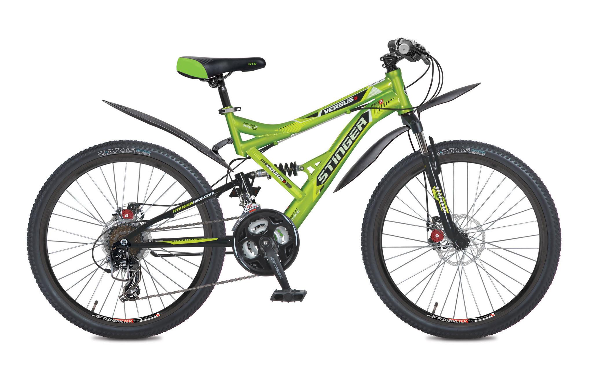 """Двухподвесный велосипед Stinger Versus D 2017 рама 16"""" зеленый"""