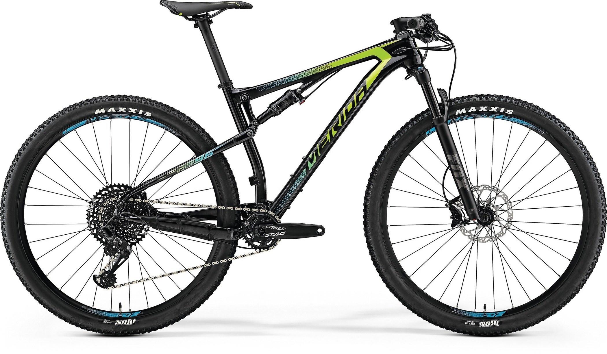 """Двухподвесный велосипед Merida Ninety-Six 7.6000 2018 рама 18"""" carbon/green/blue"""