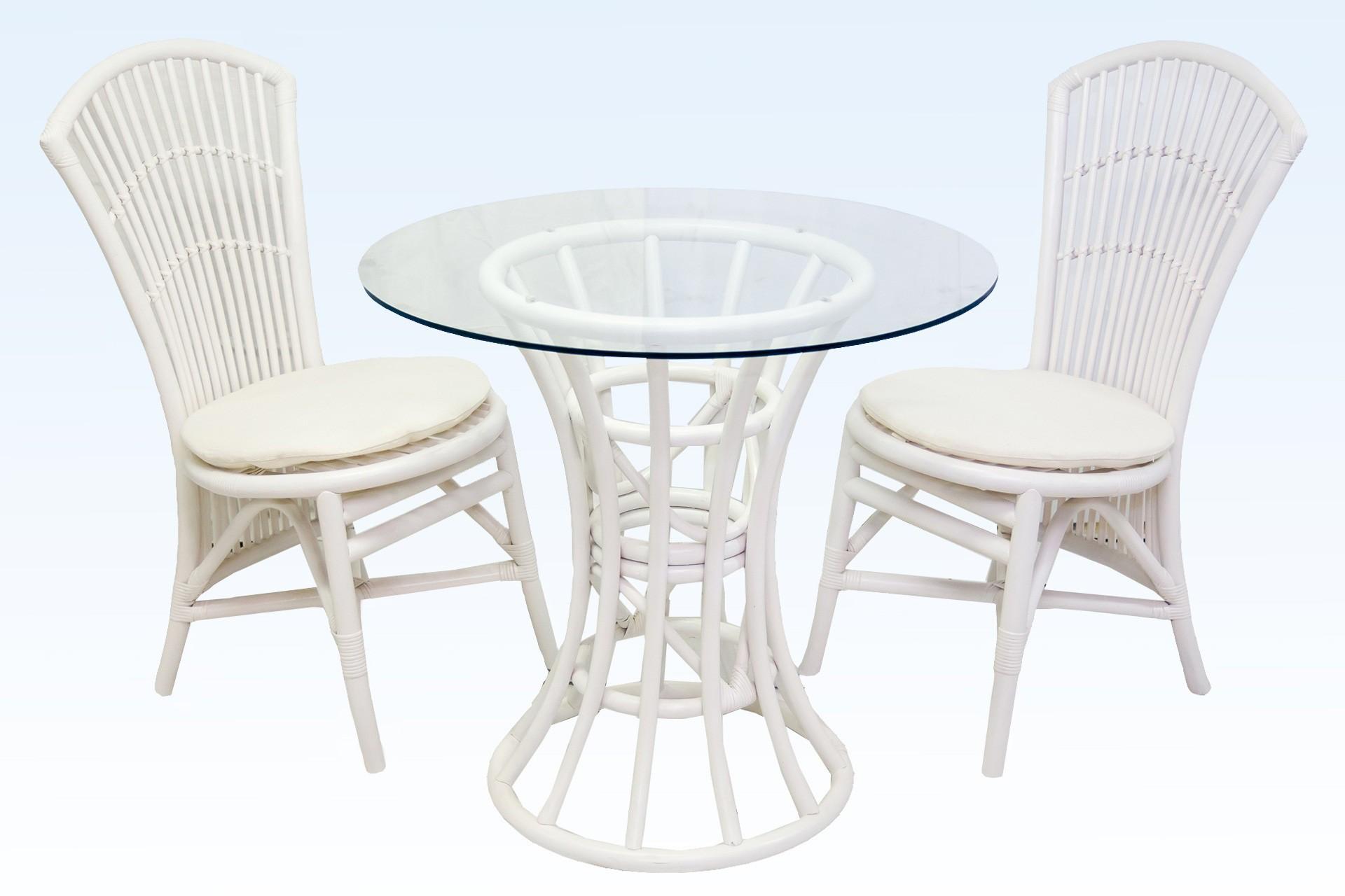 Кофейный комплект из ротанга GIKU Бистро white (стол и два стула)