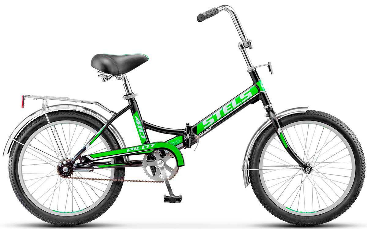 Складной велосипед Stels Pilot-410 2017 Z011 черный/зеленый