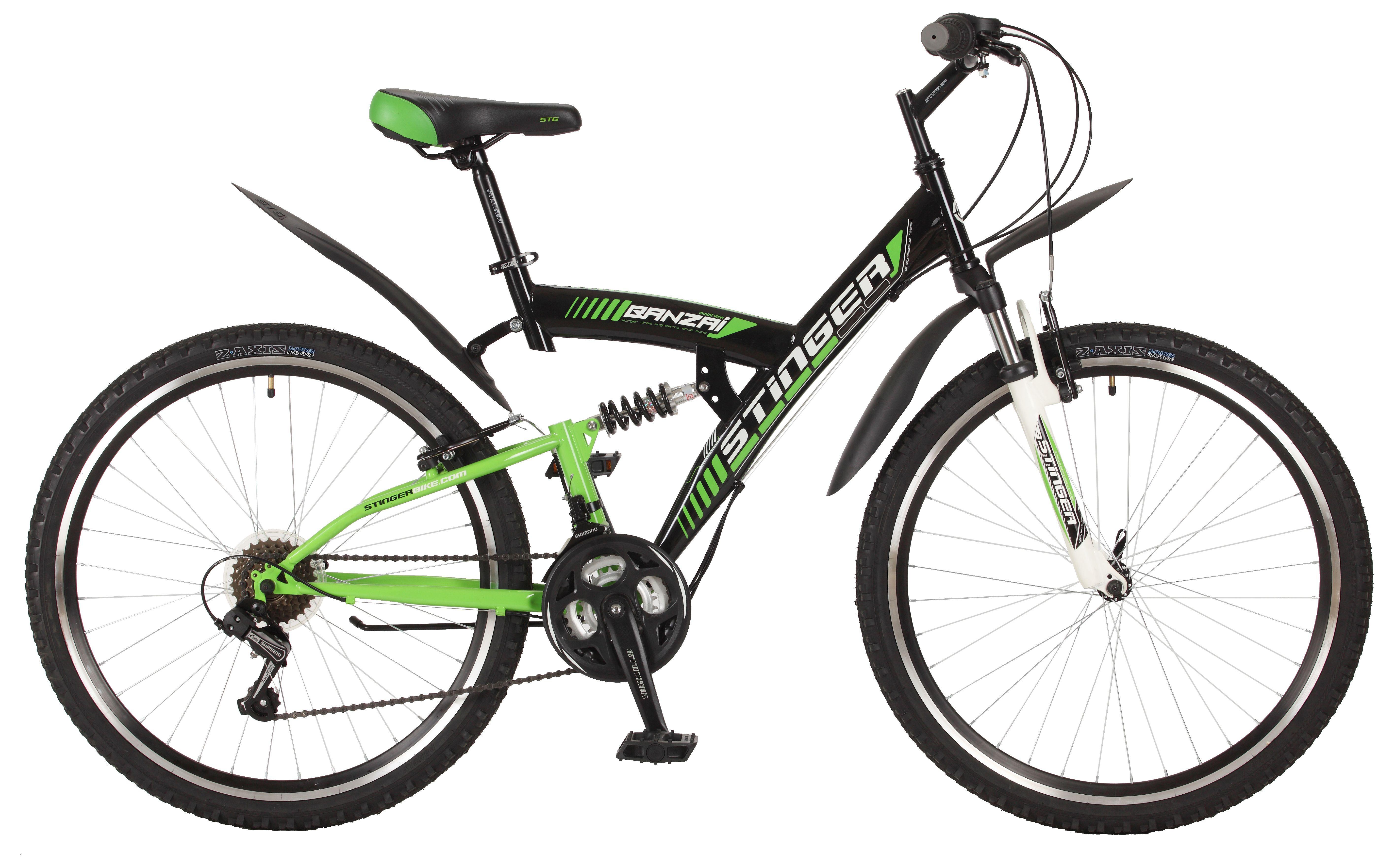 """Двухподвесный велосипед Stinger Banzai рама 20"""" черный/зеленый"""
