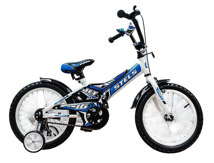 """Детский велосипед Stels Jet 2017 Z010 18"""" белый/синий"""