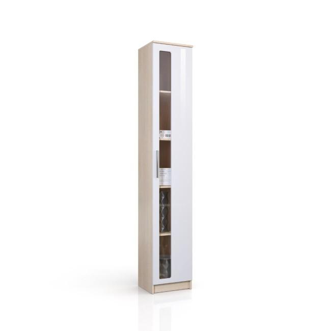 Колонка-витрина Николь СВ-553 Дуб кремона / Глянец белый