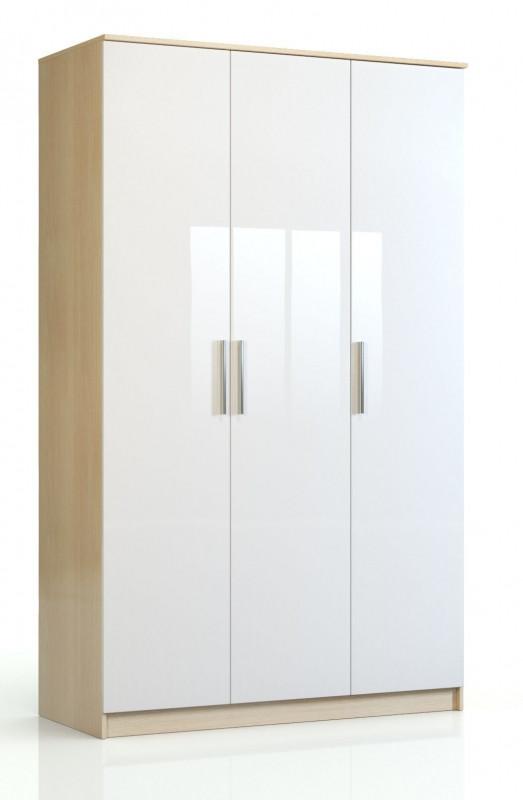Шкаф 3-х дверный Николь СВ-542 Дуб кремона / Глянец белый