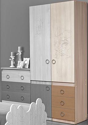 Горка 3Д Модуль №2 Шкаф многоцелевой 3 ящика + 1 дверь