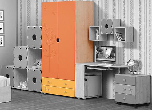Солнышко Шкаф для платья и белья двухдверный с ящиками