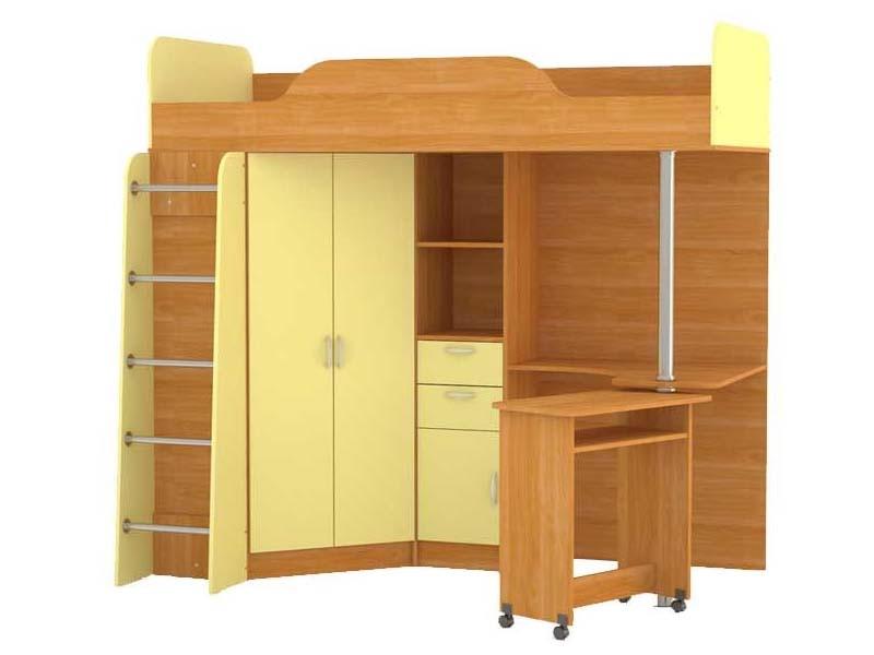 Ника 427 Кровать-чердак со столом Вишня Оксфорд / Бежевый