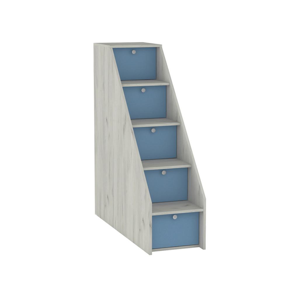Тетрис 1 308 Лестница ступеньками Дуб Белый / Синий