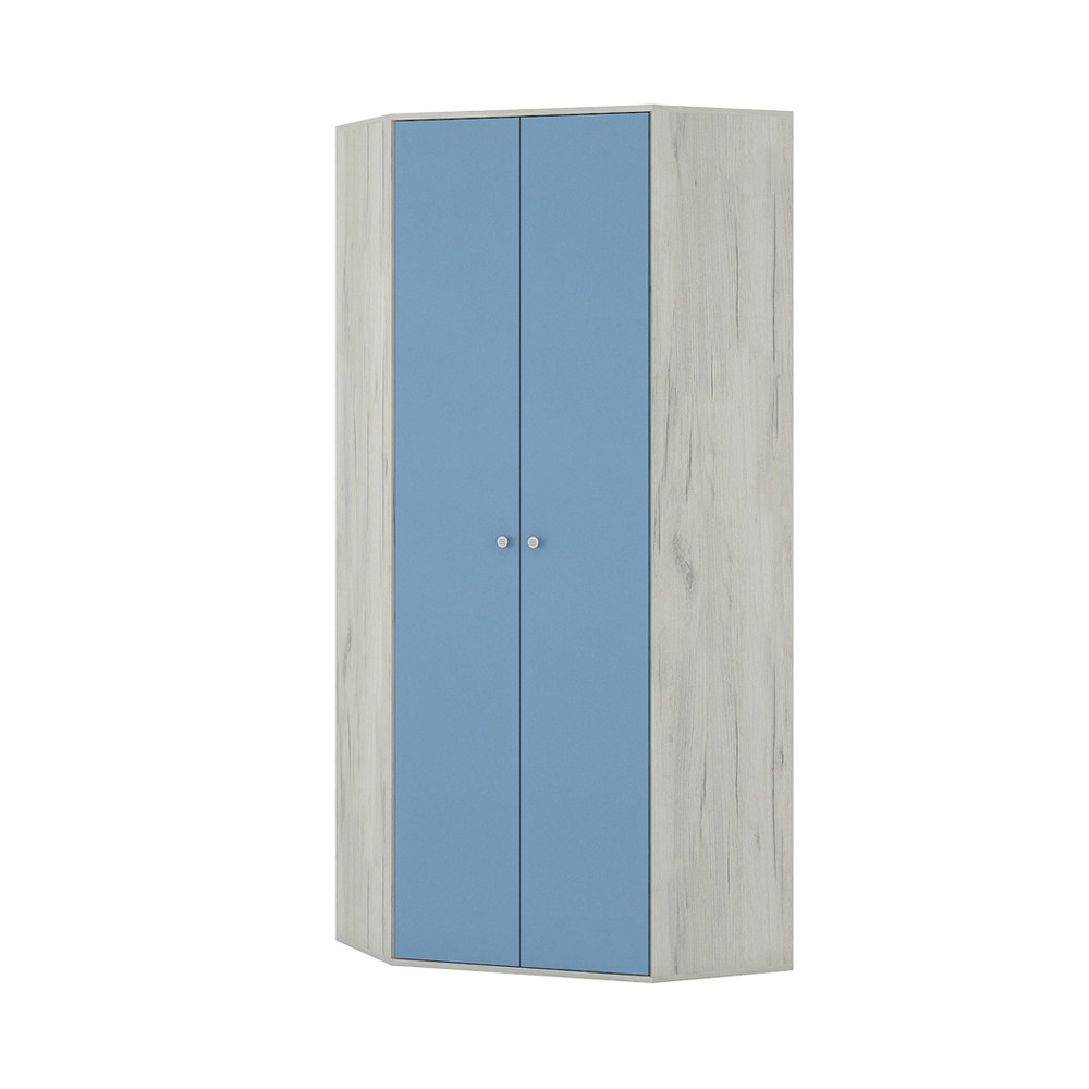 Тетрис 1 328 Шкаф угловой Дуб Белый / Синий
