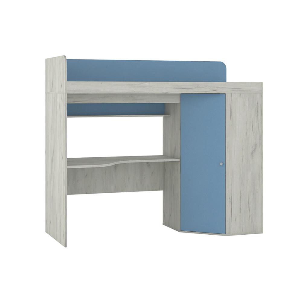 Тетрис 1 345 Кровать-чердак Дуб Белый / Синий