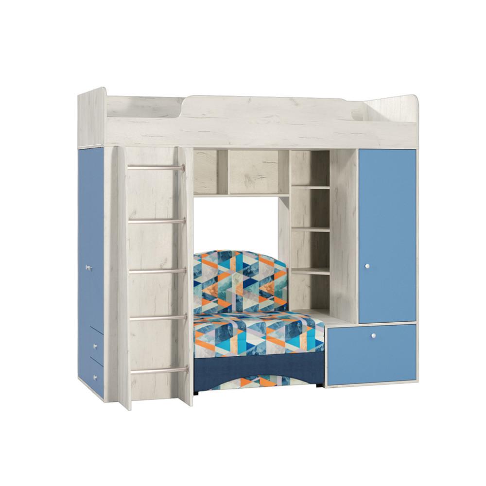 Тетрис 1 366 Кровать-чердак Дуб Белый / Синий