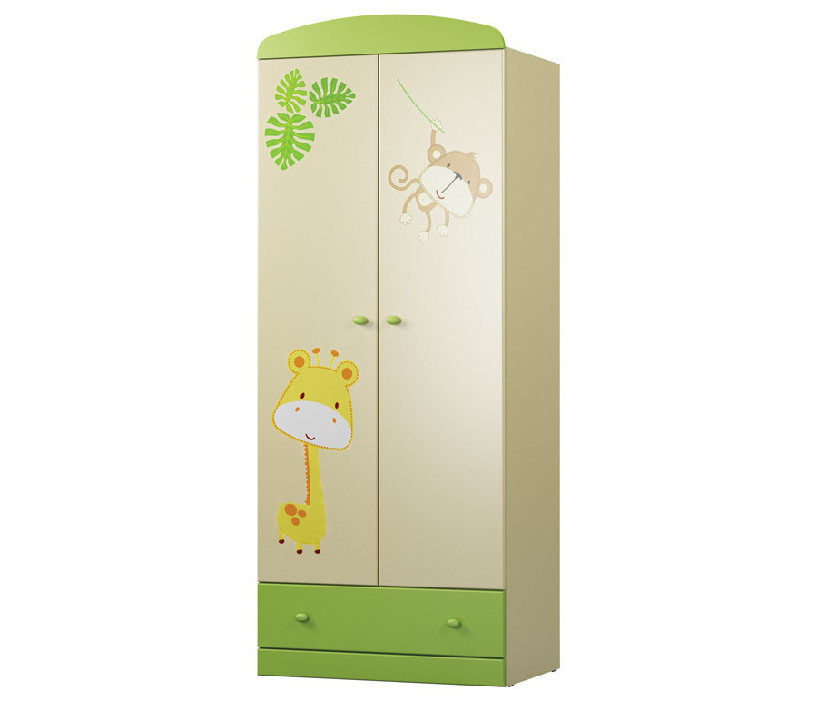 Денди-Тропик СБ-1406 Шкаф двухдверный Ваниль / Зеленый лимон