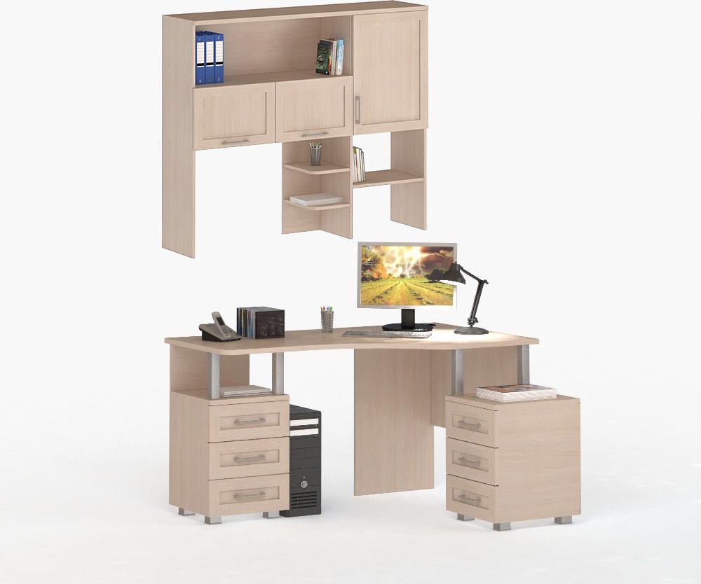 Соло 007/005 Стол компьютерный с надстройкой фасады ДСП Дуб Молочный