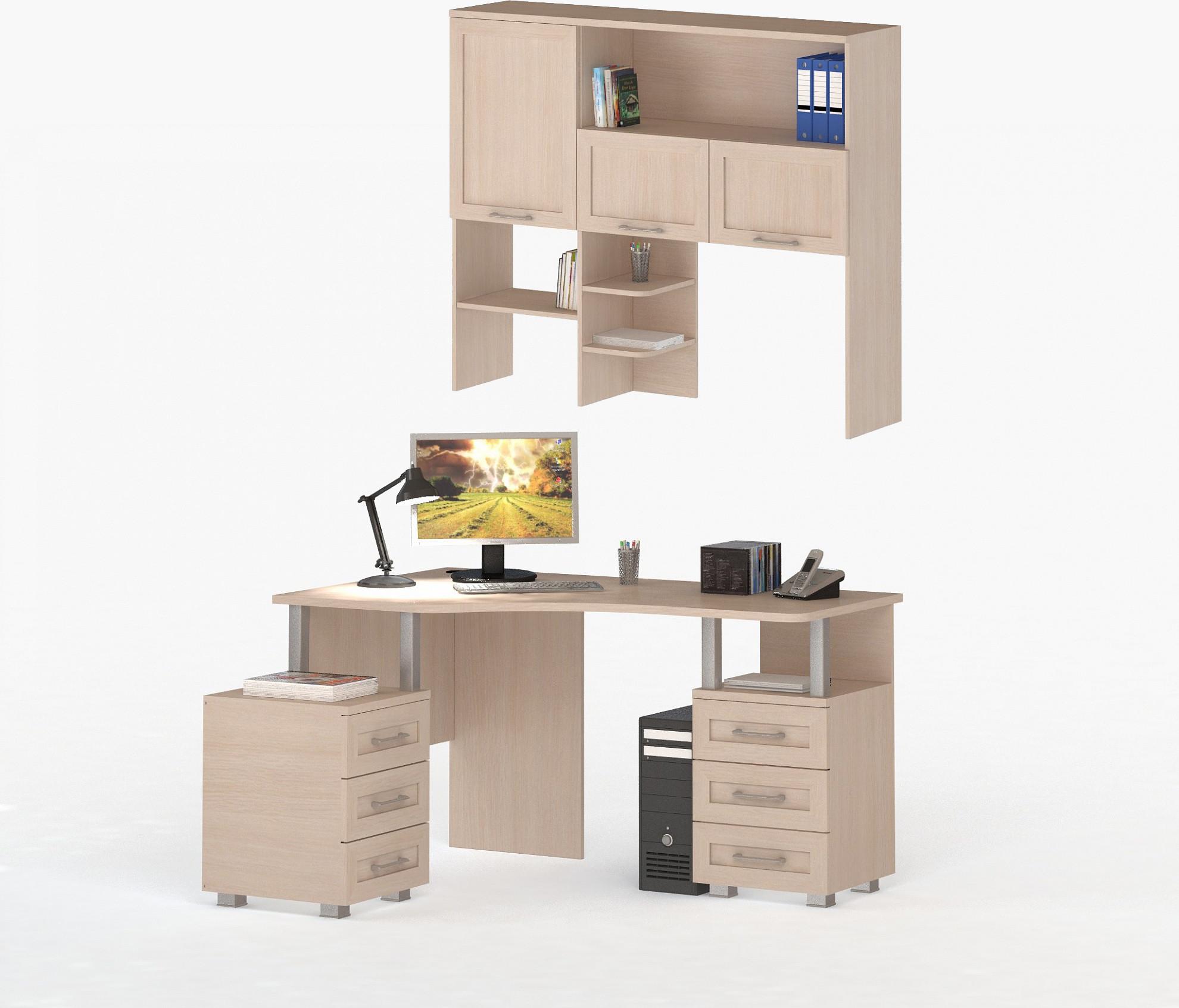 Соло 025/026 Стол компьютерный с надстройкой фасады ДСП Дуб Молочный
