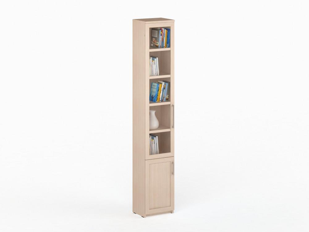 Соло 038 Шкаф-пенал книжный фасады стекло Дуб Молочный