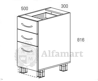 1.32 Стол рабочий с 3 ящиками 300 (8 кат.)