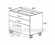 1.11 Стол рабочий с 3 ящиками 800 (4 кат.)