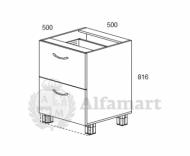 1.22 Стол рабочий с 2 ящиками 500 (2 кат.)