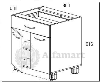1.14 Стол рабочий с 1 ящиком 600 (2 кат.)