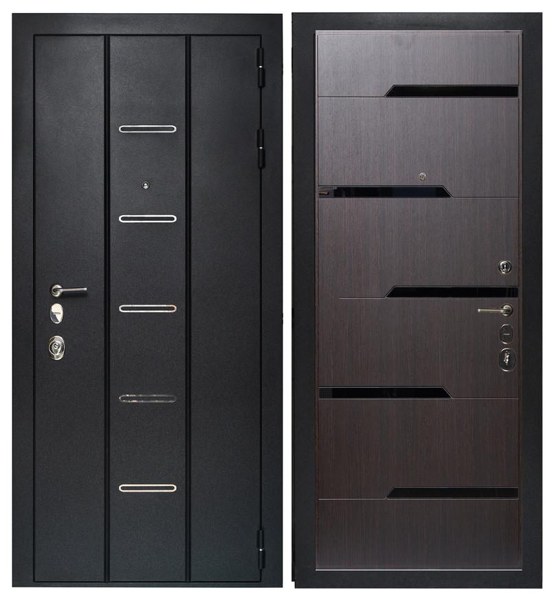 Дверь Sidoorov Максимум SM 90 ФЛ-260 Венге (черное стекло)