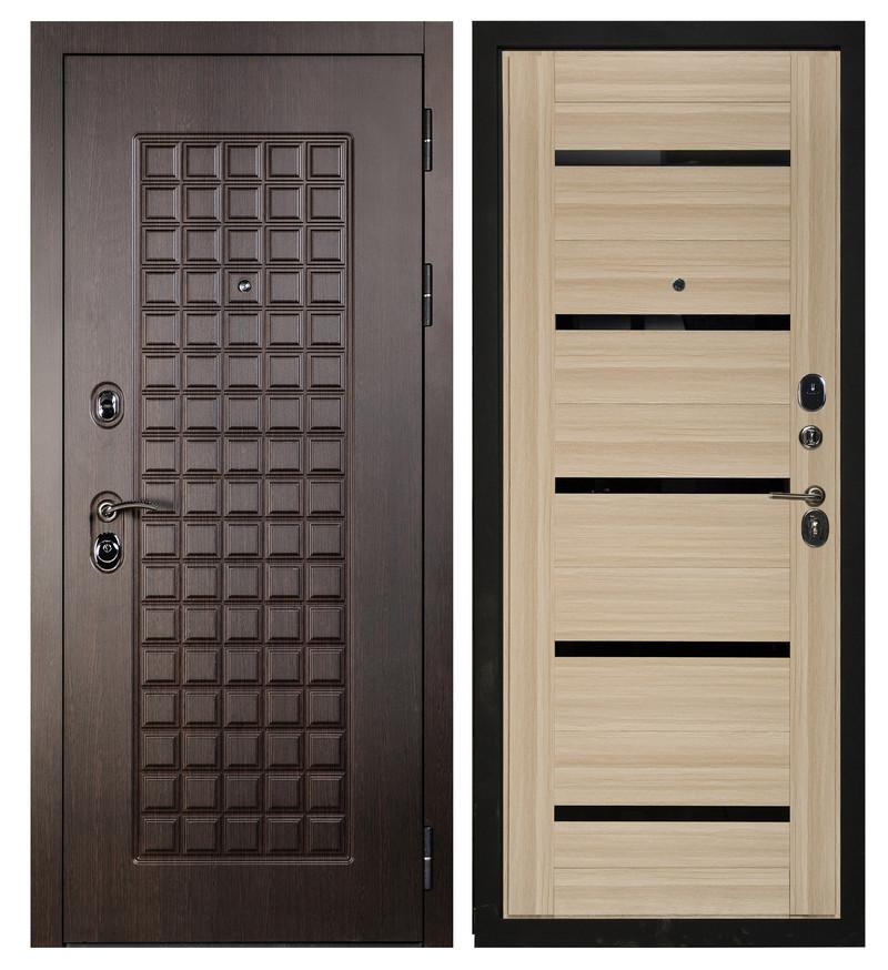 Входная дверь Sidoorov S 100 Венге / Бьянка Акация светлая (черное стекло)