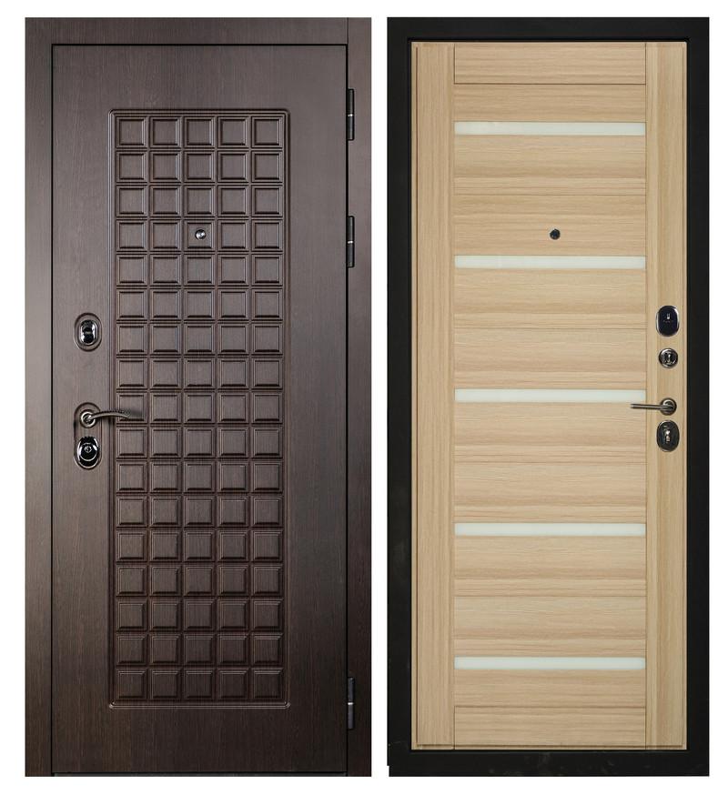 Входная дверь Sidoorov S 100 Венге / Бьянка Акация светлая (белое стекло)