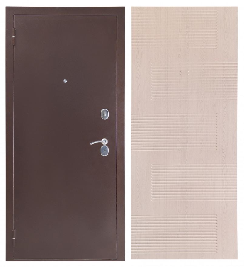 Входная дверь Sidoorov S 80 3к Антик медь / Спарта Беленый дуб
