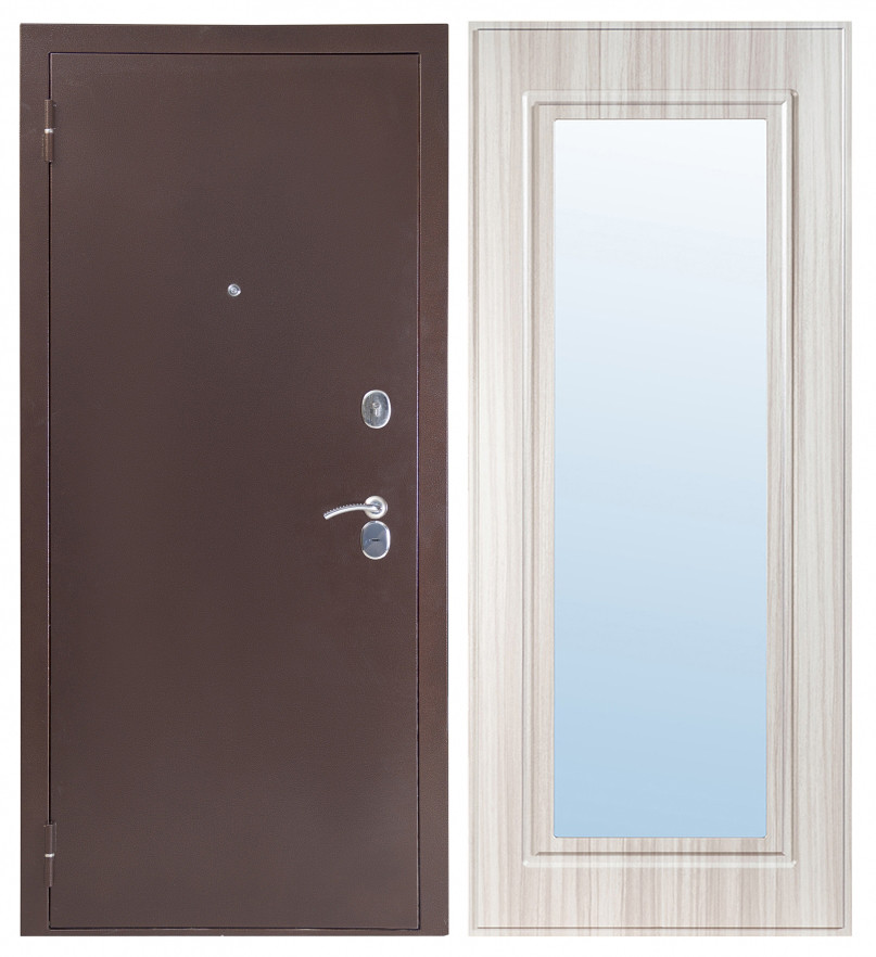 Входная дверь Sidoorov S 80 3к Антик медь / Зеркало Макси Сандал белый