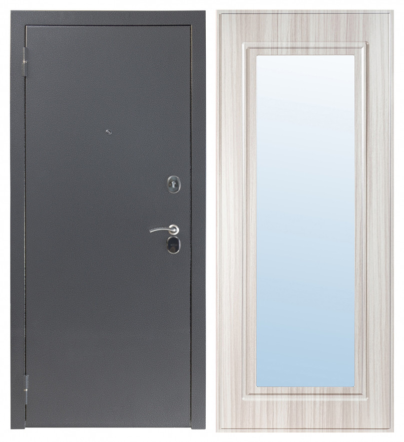 Входная дверь Sidoorov S 80 3к Антик серебро / Зеркало Макси Сандал белый