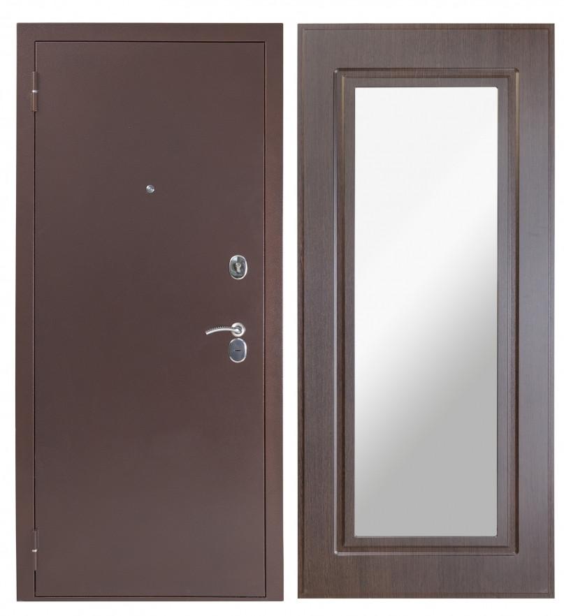 Входная дверь Sidoorov S 80 3к Антик медь / Зеркало Макси Венге
